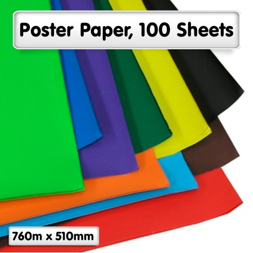 Poster Paper Sheets, 100 Assorted
