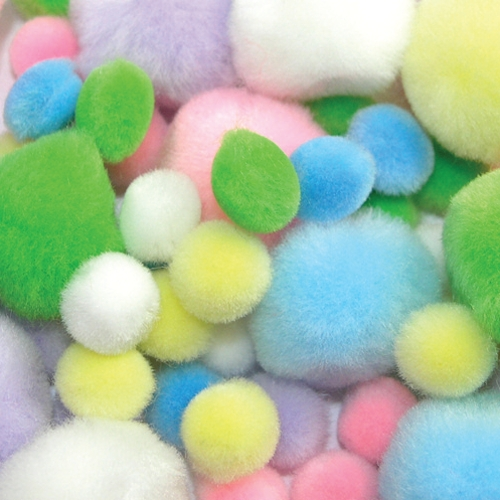 Pastel Pom Poms in Assorted Sizes