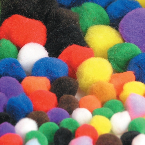 Assorted Pom Poms in Sizes 10,18 & 25mm