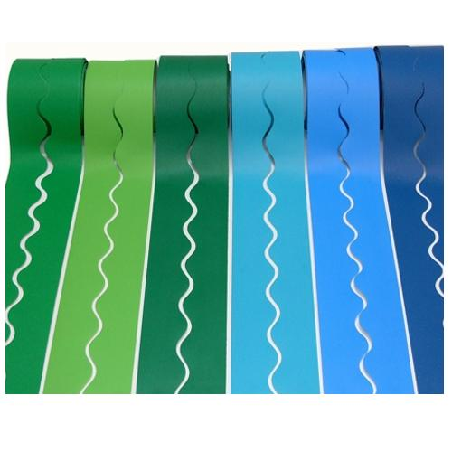6 Rolls of Fadeless Card Borders in Cool Colours